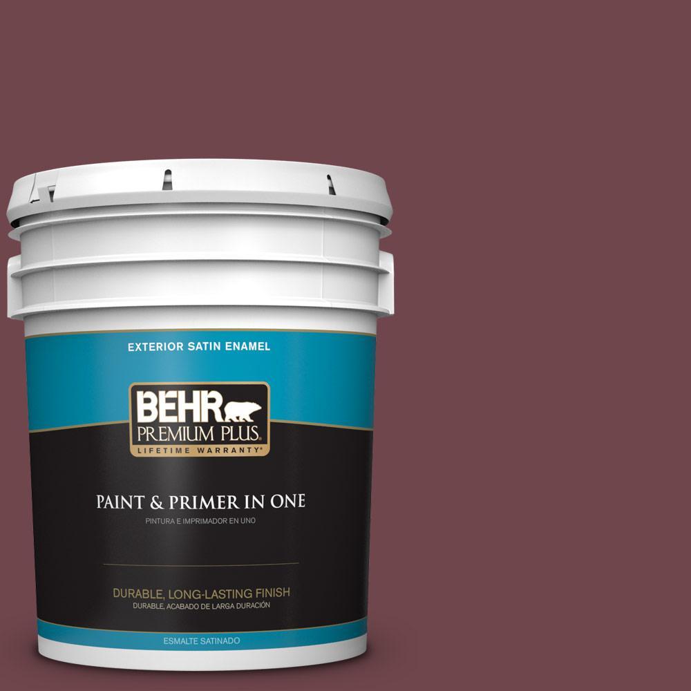 5 gal. #PPU1-14 Formal Maroon Satin Enamel Exterior Paint