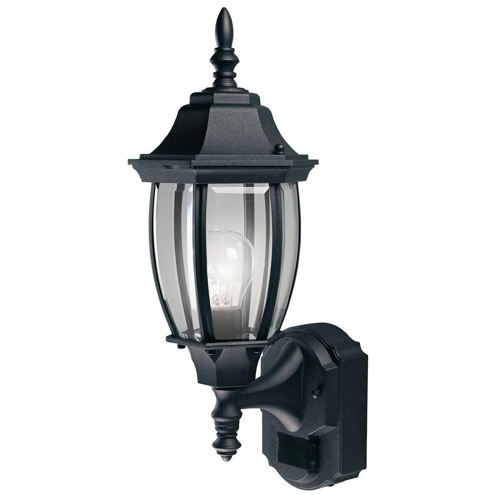 Heath Zenith 180 Degree Black Alexandria Wall Lantern Sconce with Curved Beveled Glass