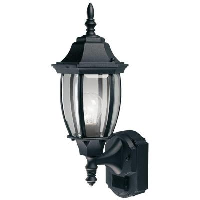 180 Degree Black Alexandria Wall Lantern Sconce with Curved Beveled Glass