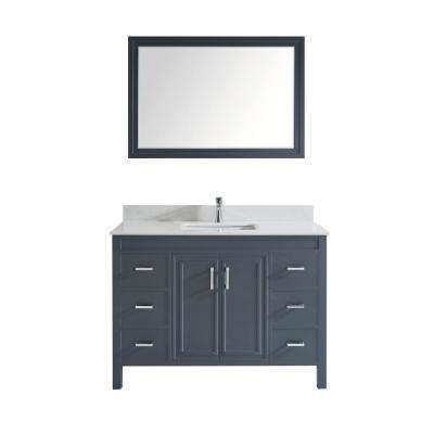 Dawlish 48 in. W x 22 in. D Vanity in Pepper Gray with Solid Surface Vanity Top in White with White Basin and Mirror