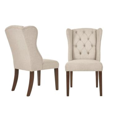 Belcrest Sable Brown Wood Upholstered Dining Chair with Biscuit Beige Seat (Set of 2) (24.02 in. W x 40.94 in. H)