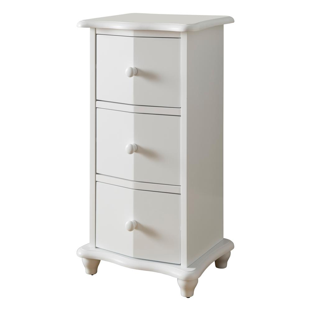 3-Drawer White Wood Chest of Drawers