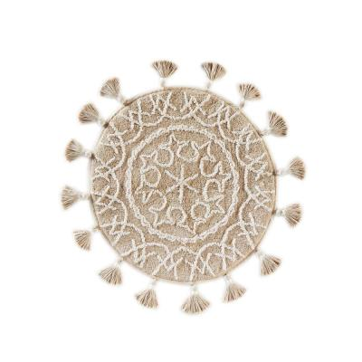 25 in. x 25 in. Natural Medallia Cotton Bath Rug