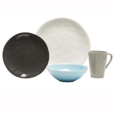 Serenity 16-Piece Blue and Grey Dinnerware Set