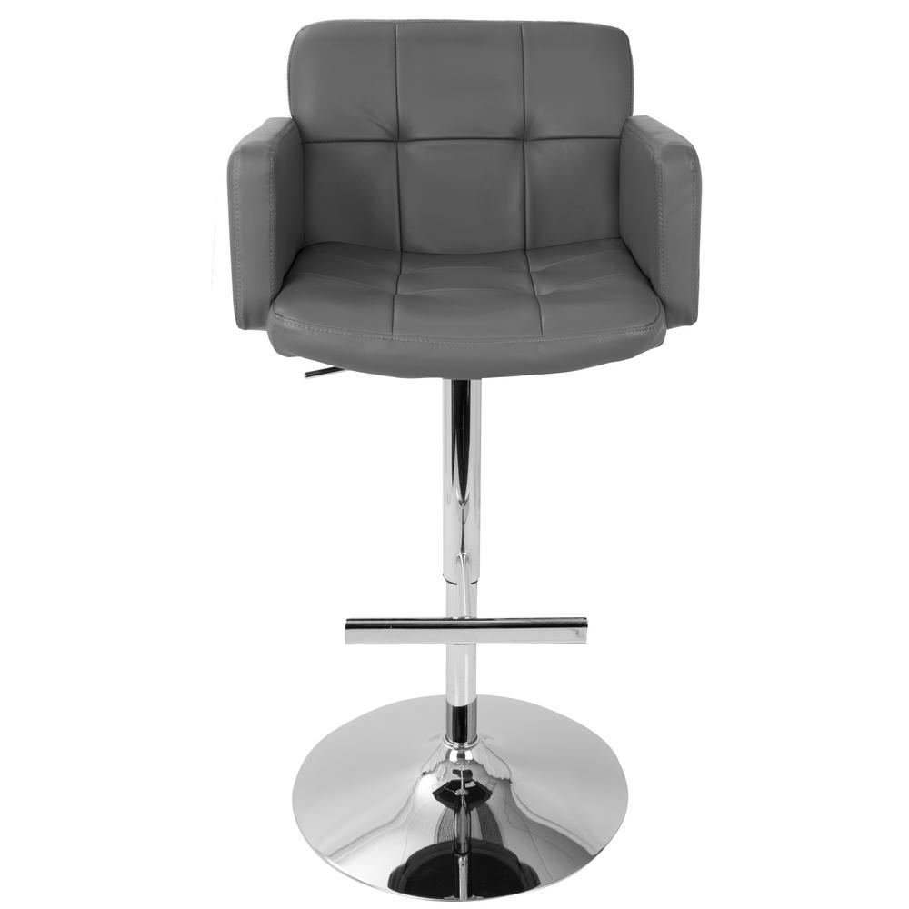 Awesome Lumisource Stout Chrome And Grey Faux Leather Adjustable Caraccident5 Cool Chair Designs And Ideas Caraccident5Info