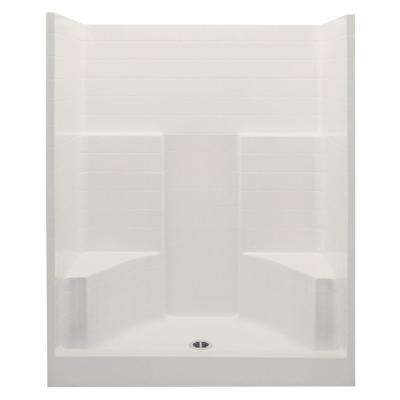 Everyday 60 in. x 35 in. x 72 in. 1-Piece Shower Stall with 2 Seats and Center Drain in Bone