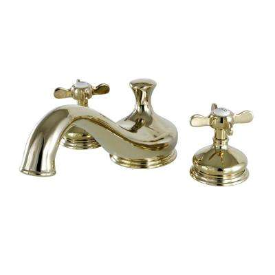 Heritage Cross 2-Handle Deck Mount Roman Tub Faucet in Polished Brass