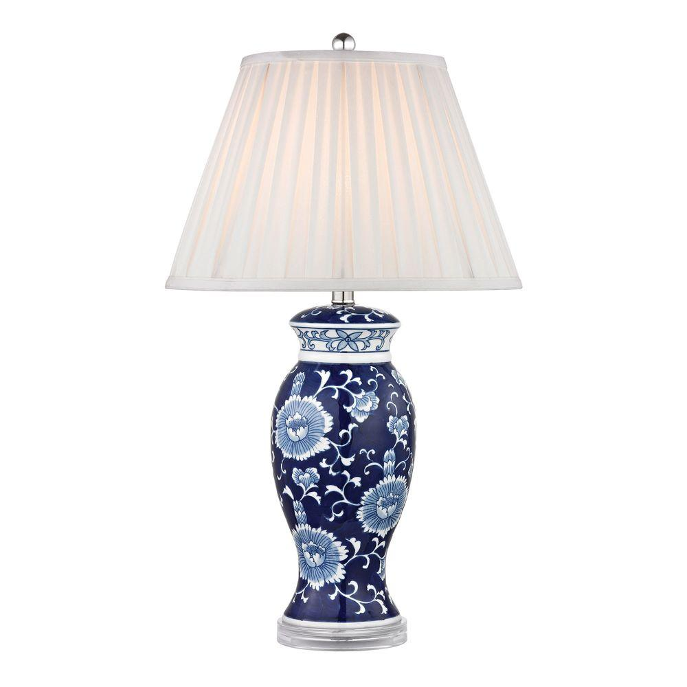 Titan Lighting 28 In Blue And White Hand Painted Ceramic Table Lamp