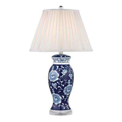 28 in. Blue and White Hand Painted Ceramic Table Lamp with Acrylic Base