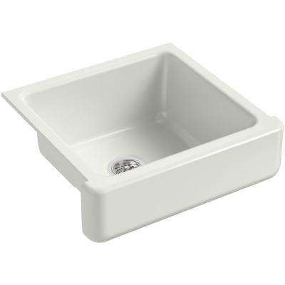 Whitehaven Farmhouse Short Apron-Front Cast Iron 24 in. Single Bowl Kitchen Sink in Dune