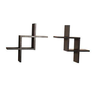 Contempo 17 in. W x 17 in. H Black MDF Reversed Criss Cross Framing Shelves (Set of 2)