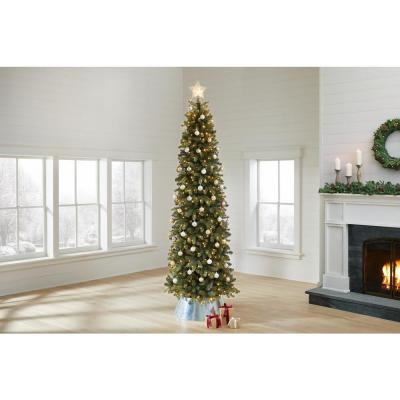 9 ft Manchester White Spruce Pre-Lit LED Slim Artificial Christmas Tree with 500 SureBright Color-Changing Lights