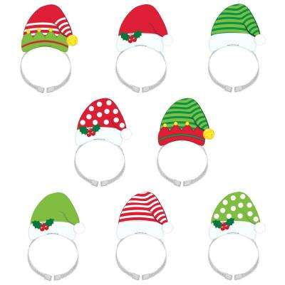 8 in. x 4.5 in. Santa and Elf Christmas Headbands (8-Count, 2-Pack)