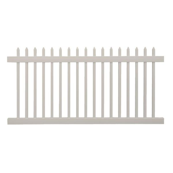 Abbington 4 ft. H x 8 ft. W Tan Vinyl Picket Fence Panel Kit