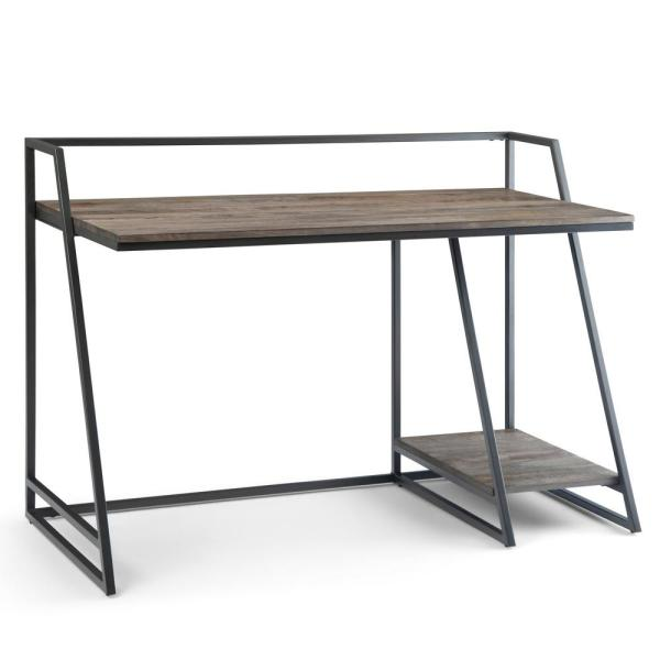 52 in. Rectangular Carbon Stain Computer Desk with Shelves
