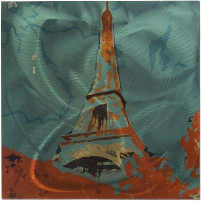Brevium 22 in. x 22 in. Eiffel Tower Metal Wall Art