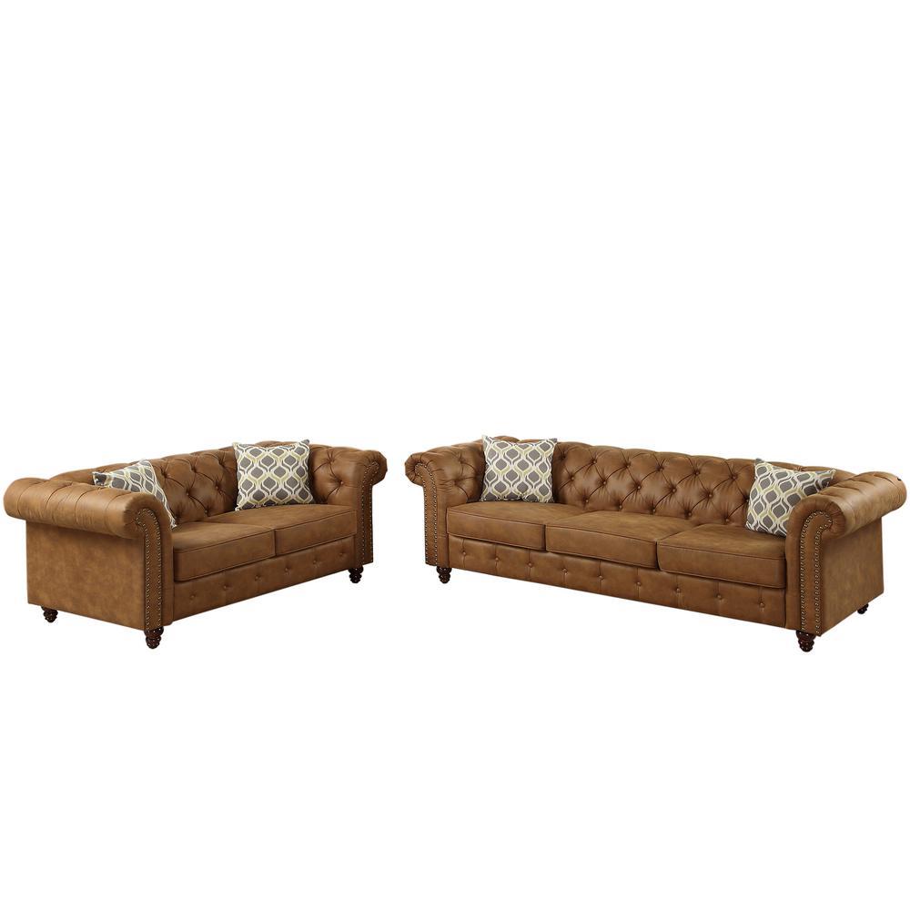 Venetian Worldwide Camel Leatherette Sofa Set