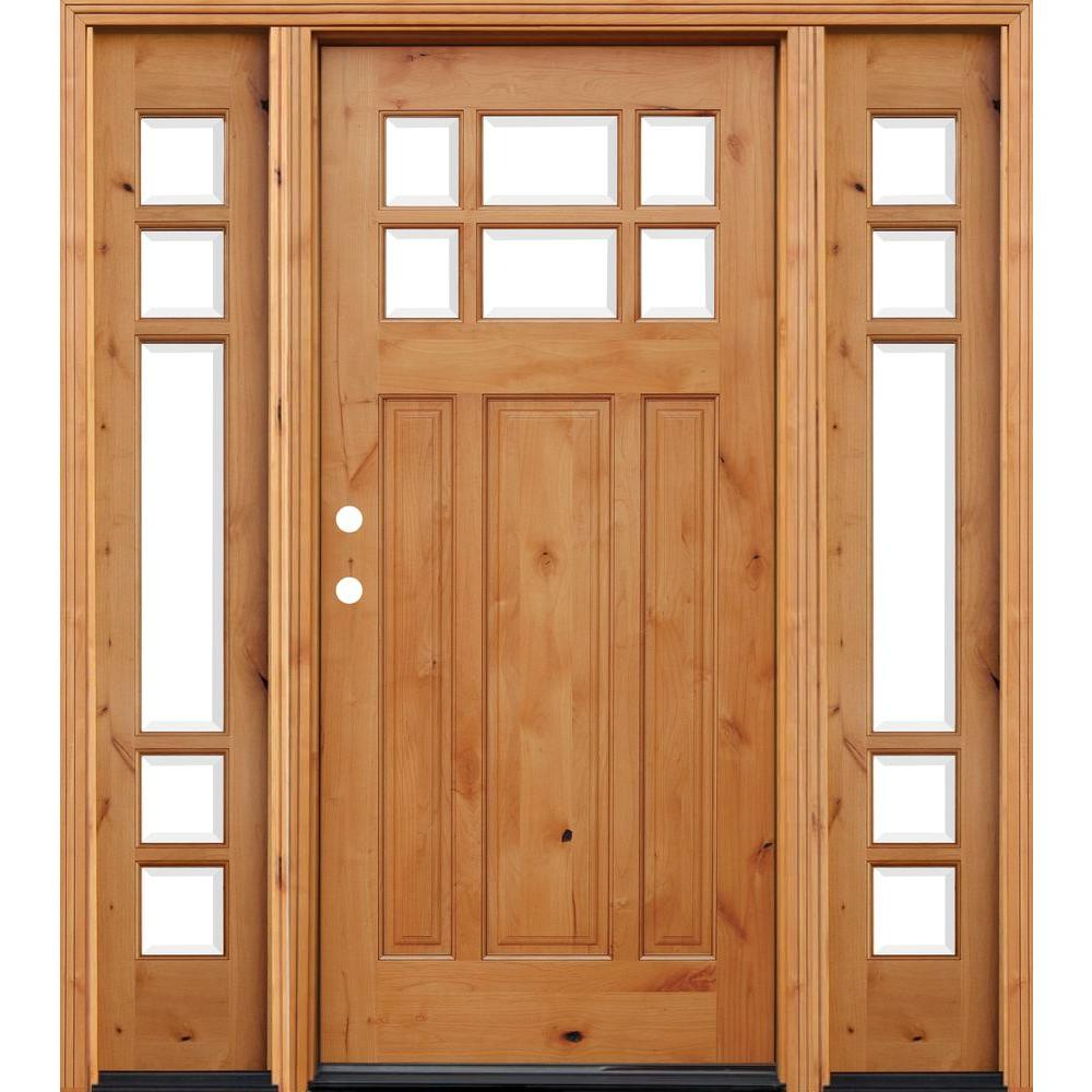 Pacific Entries 70 in. x 80 in. Craftsman Rustic 6 Lite Stained Knotty Alder Wood Prehung Front Door with 14 in. Sidelites