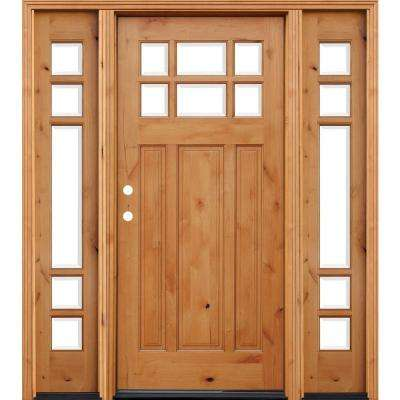 Craftsman 6 Lite Stained Knotty Alder Wood Prehung Front Door W/ 6 In. Wall Part 76