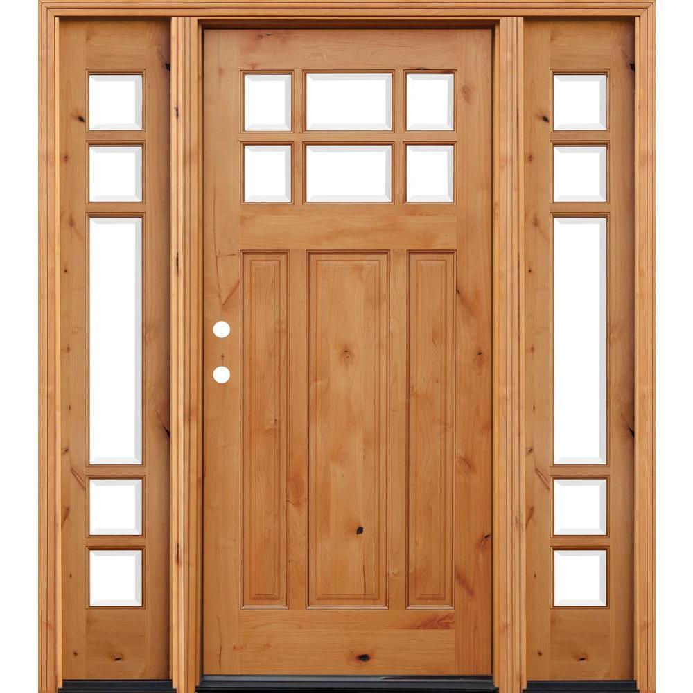 front door with glass. Craftsman 6 Lite Stained Knotty Alder Wood Prehung Front Door w  in Wall Doors Exterior The Home Depot