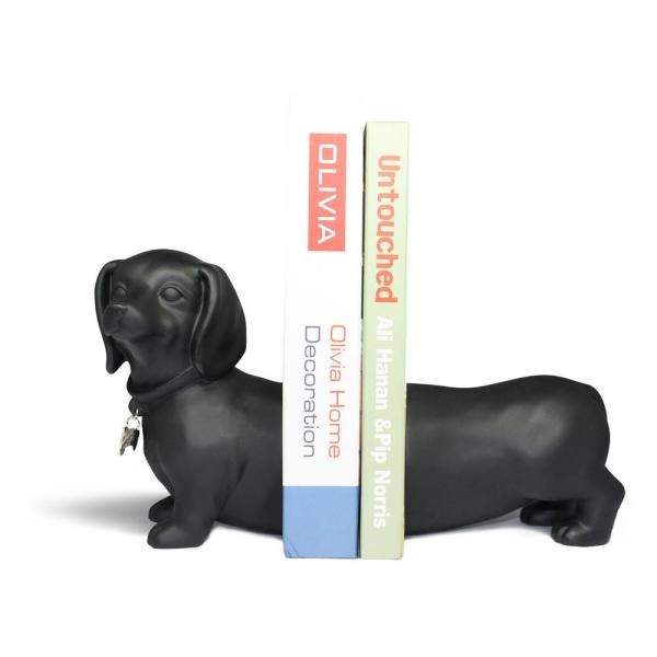 Dachshund Dog Black Resin Bookends (Set of 2)