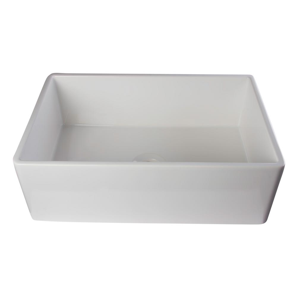 ALFI BRAND Smooth Farmhouse Apron Fireclay 30 in. Single Basin Kitchen Sink in White