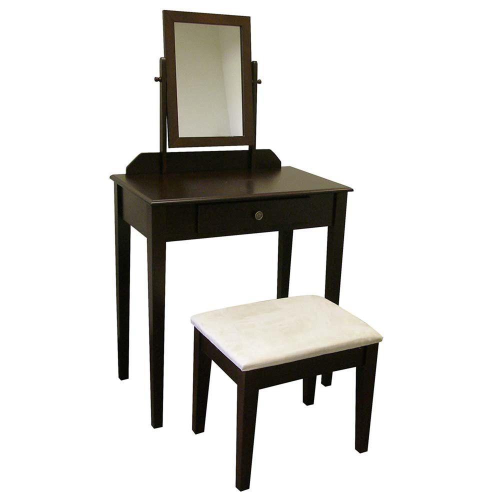 espresso vanity set with bench. Home Decorators Collection 3 Piece Espresso Vanity Set H206ES  The Depot