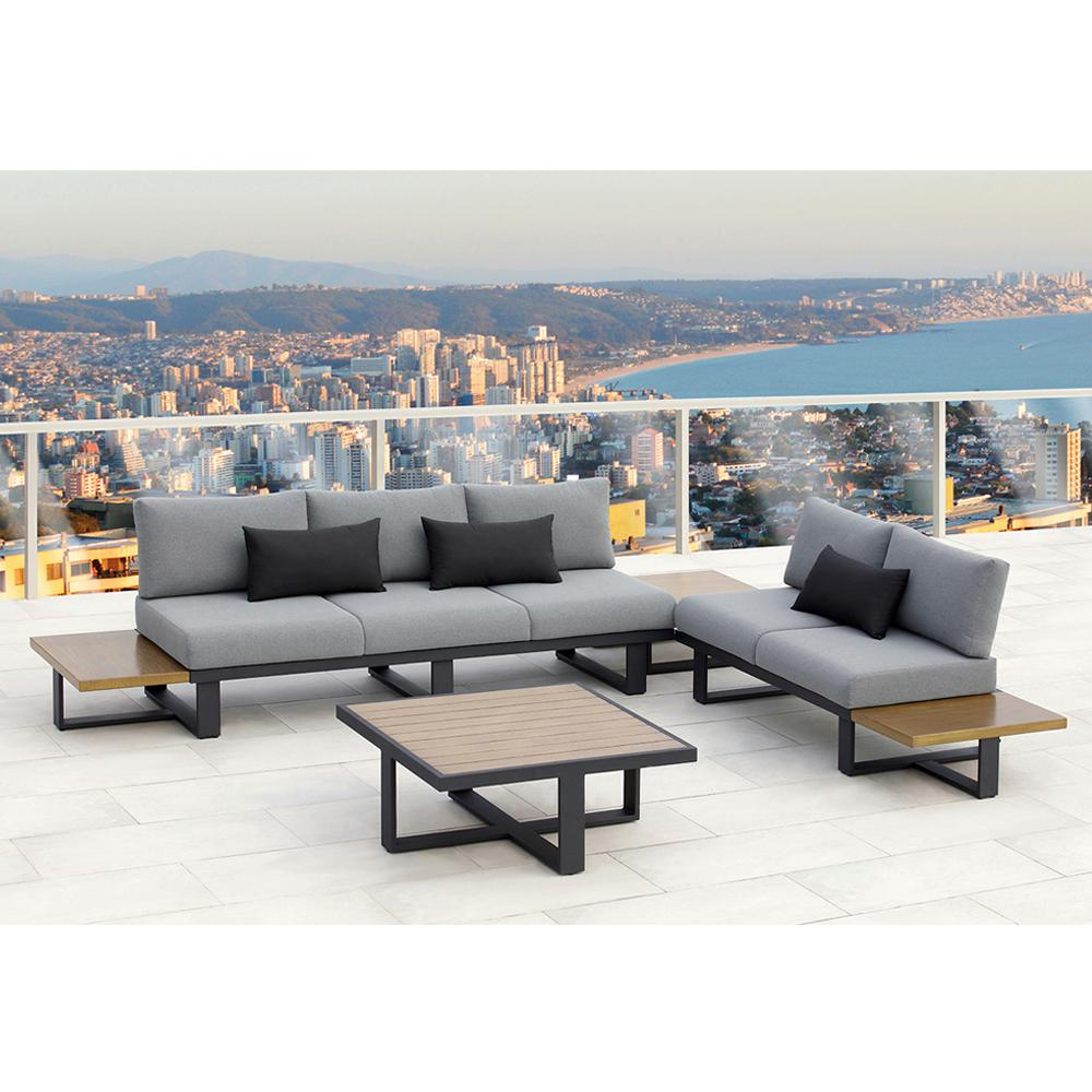 OVE Decors Platform 4 Piece Aluminum Outdoor Sectional Set With Olefin Gray  Cushions
