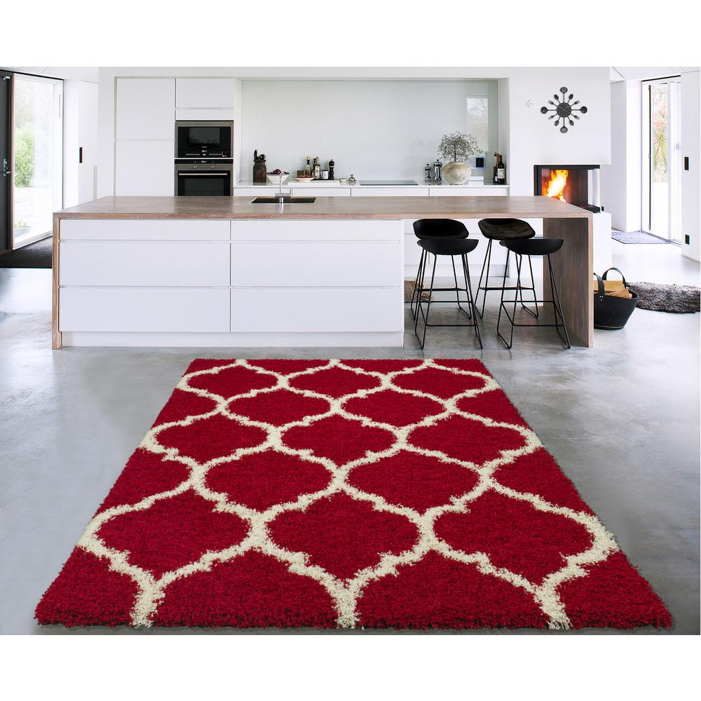 Household Stores: Sweet Home Stores Cozy Shag Collection Red/Cream Moroccan