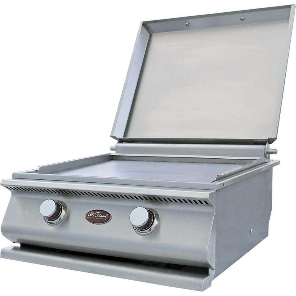 15,000 BTU 2-Burner Built-In Stainless Steel Propane Gas Hibachi Flat Top