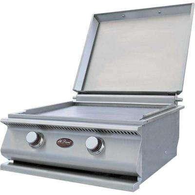 15,000 BTU 2-Burner Built-In Stainless Steel Propane Gas Hibachi Flat Top Griddle