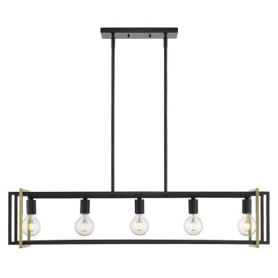 Tribeca 5-Light Black with Aged Brass Accents Linear Pendant
