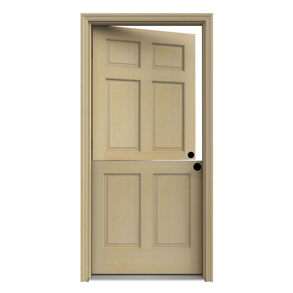 JELD-WEN 32 in. x 80 in. 6-Panel Unfinished Dutch Wood Prehung Left-Hand Inswing Front Door w/Brickmould