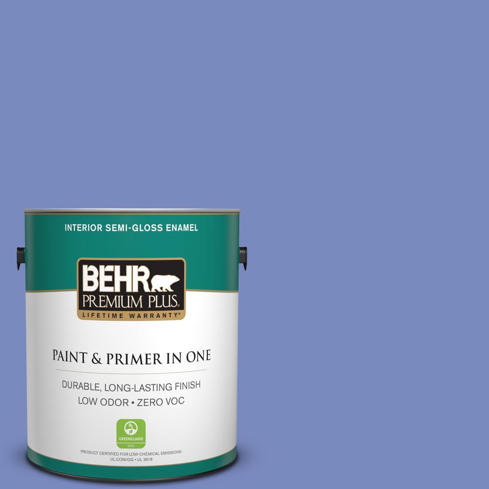 1-gal. #600B-5 Larkspur Bouquet Zero VOC Semi-Gloss Enamel Interior Paint