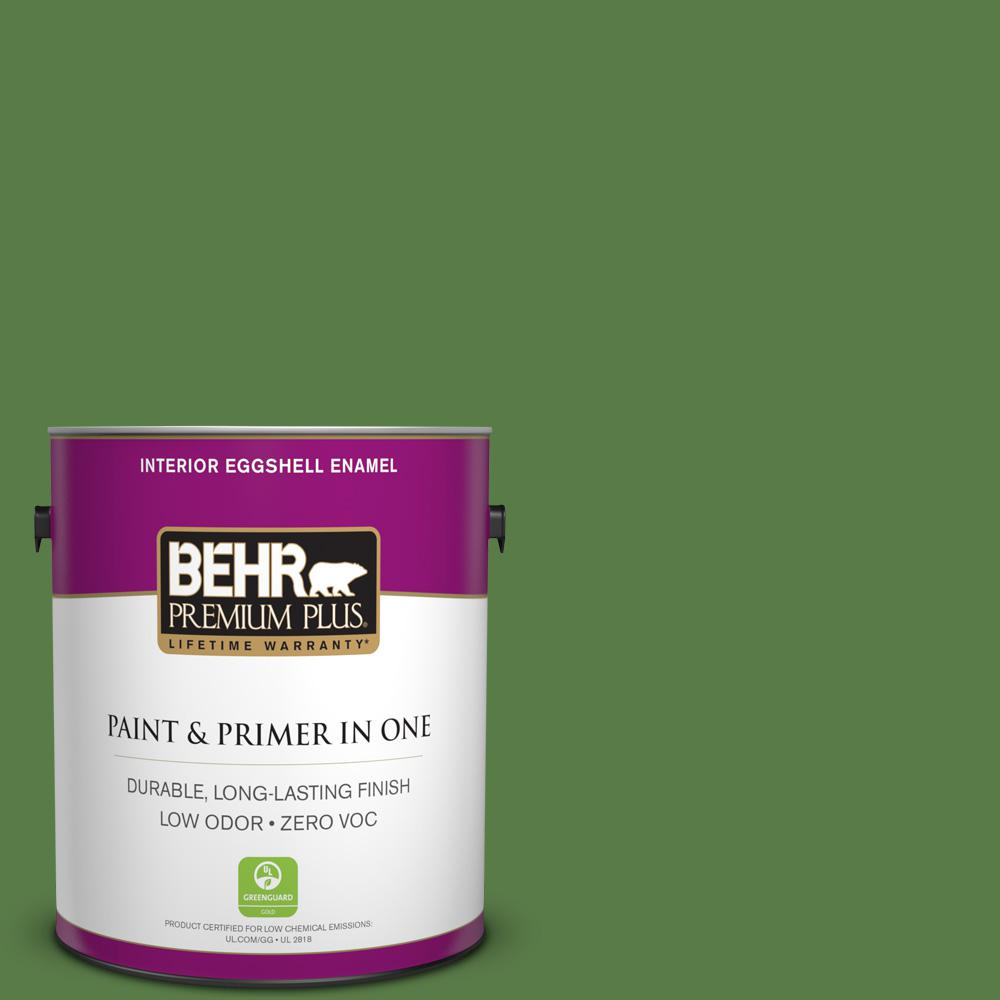 BEHR Premium Plus 1-gal. #440D-6 Grassy Field Zero VOC Eggshell Enamel Interior Paint