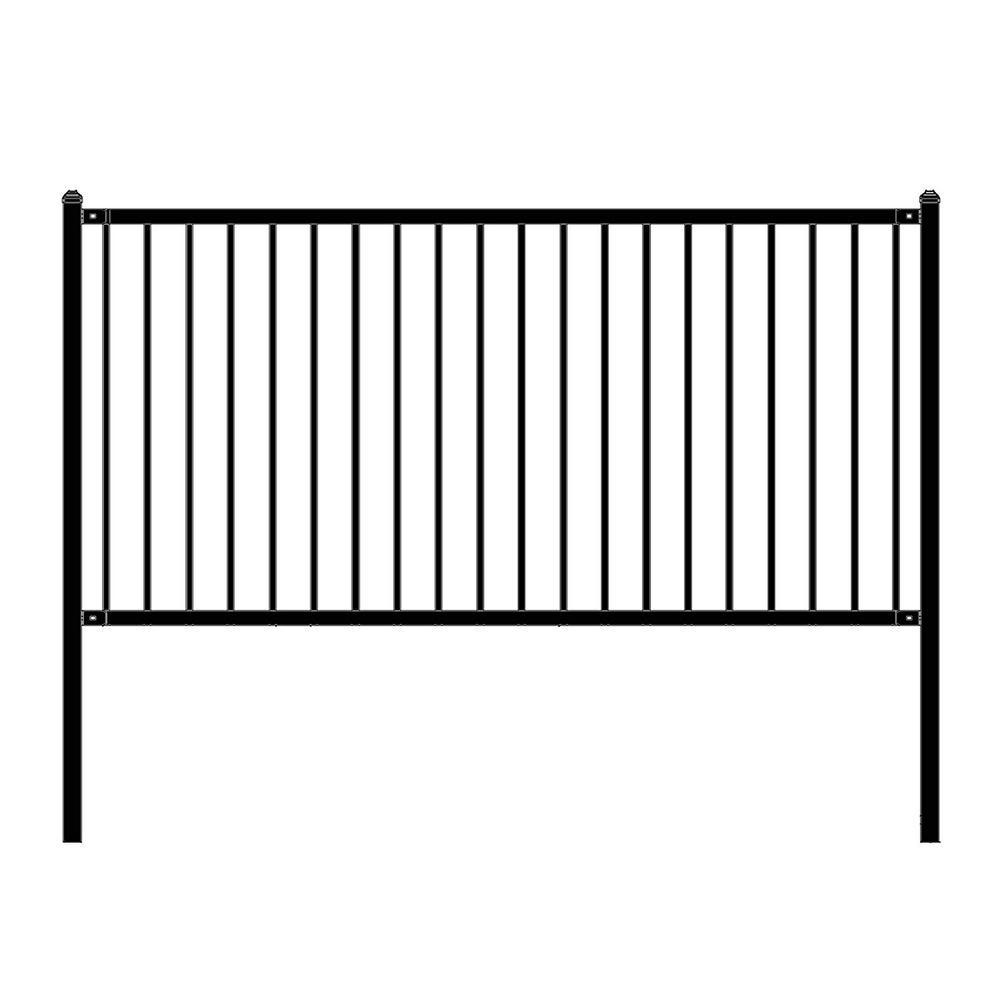 Lyon Style 4 ft. x 8 ft. Black Steel Unassembled Fence Panel