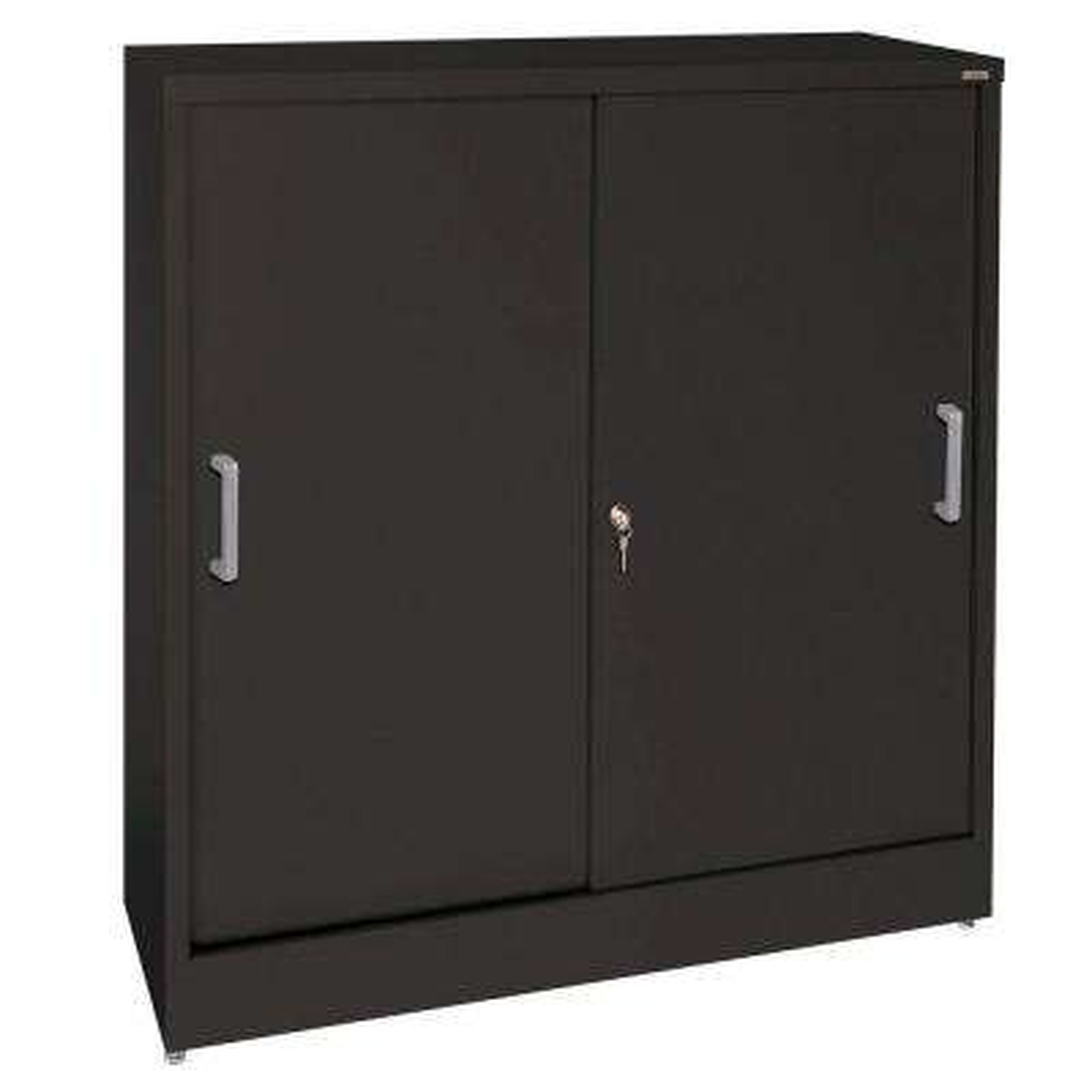 Elite Series 42 in. H x 36 in. W x 18 in. D Steel Freestanding Storage Cabinet with Sliding Door Storage in Black
