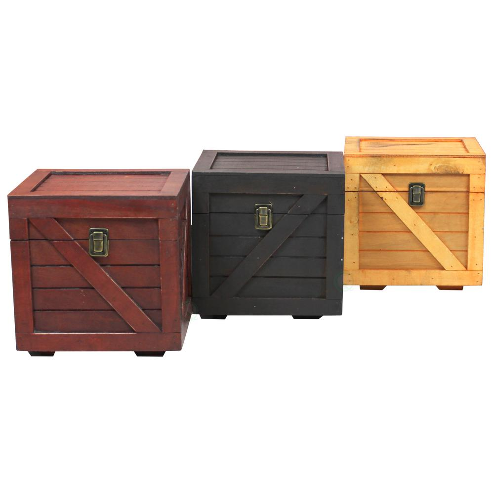 Lovely Vintiquewise Wooden Stackable Treasure Chest Cargo Crate Style  VX14