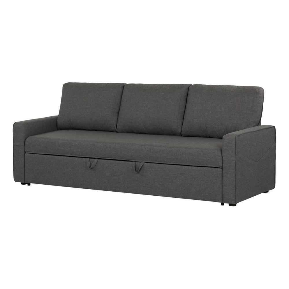 south shore live it cozy 3 seat charcoal gray sofa bed. Black Bedroom Furniture Sets. Home Design Ideas