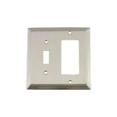 Deco Switch Plate with Toggle and Rocker in Satin Nickel
