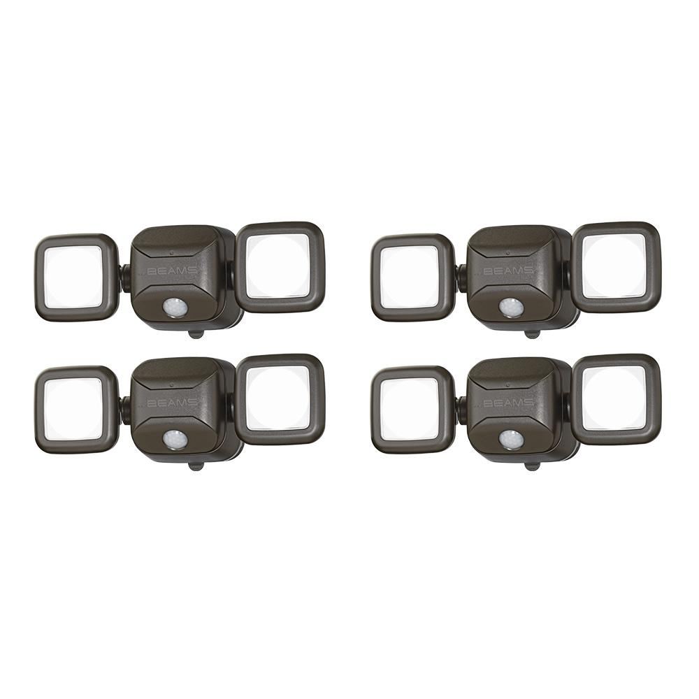 Wireless Motion Sensing Outdoor Integrated LED Security Spot Light 6-Pack Bronze