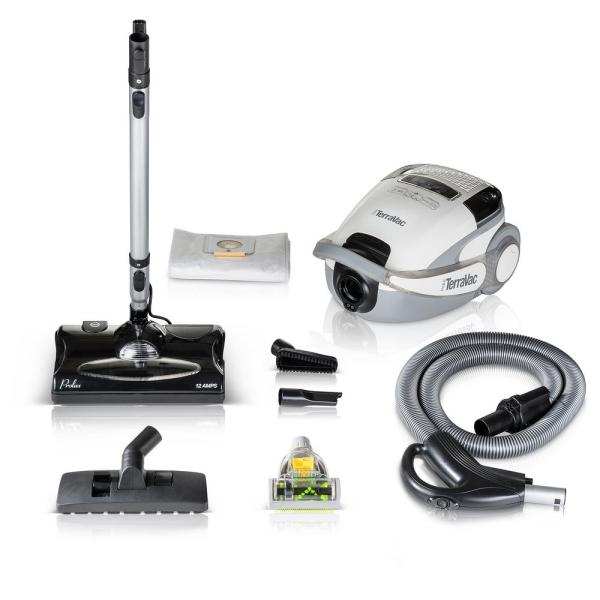 White TerraVac 5-Speed Quiet Canister Vacuum Cleaner with Sealed HEPA Filter