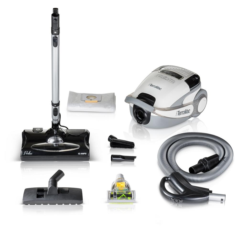 PROLUX White TerraVac 5-Speed Quiet Canister Vacuum Clean...
