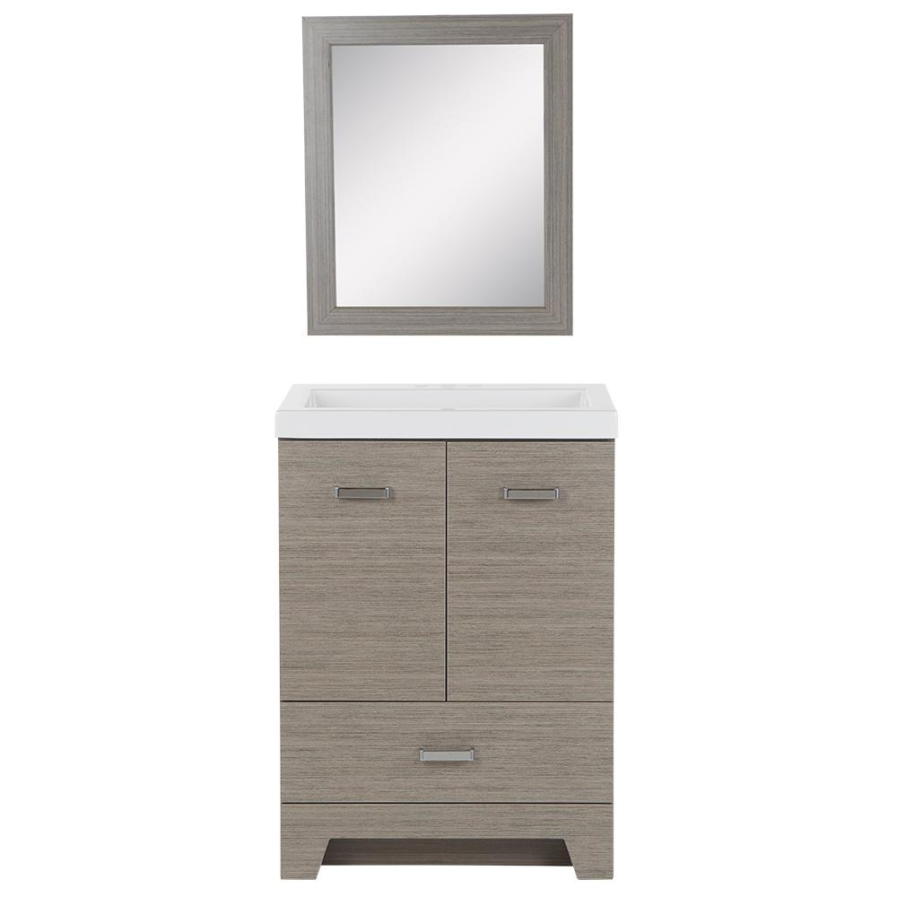 Glacier Bay Beckwood 24.5 in. W Bath Vanity in Haze with Cultured Marble Vanity Top in White with White Basin and Mirror