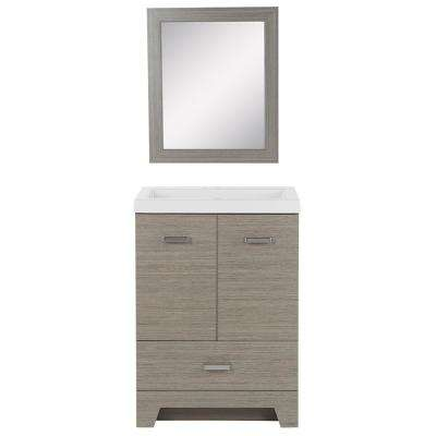 Beckwood 24.5 in. W Bath Vanity in Haze with Cultured Marble Vanity Top in White with White Basin and Mirror