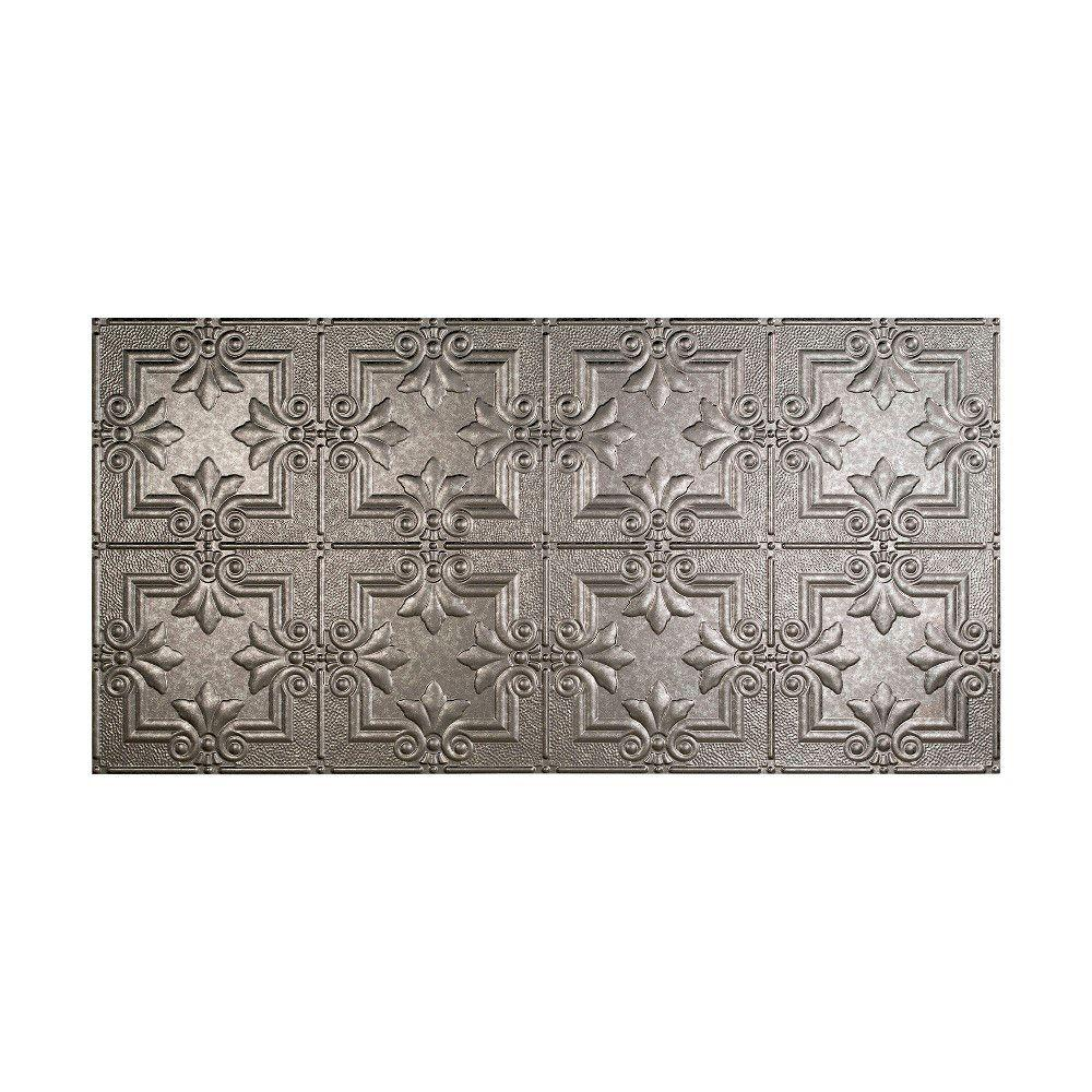 Fasade Regalia 2 ft. x 4 ft. Glue-up Ceiling Tile in Galvanized Steel