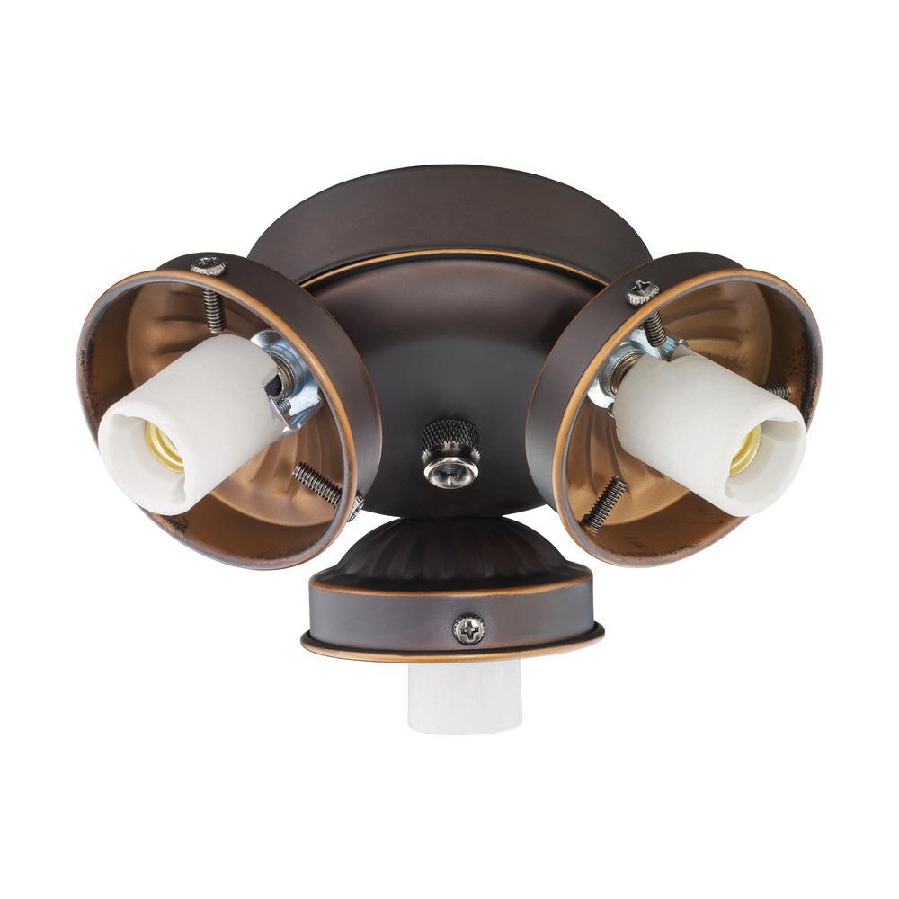 3-Light Roman Bronze Fitter Ceiling Fan Light