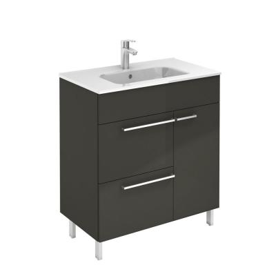 Confort 28 in. W x 18 in. D Vanity in Anthracite with White Basin