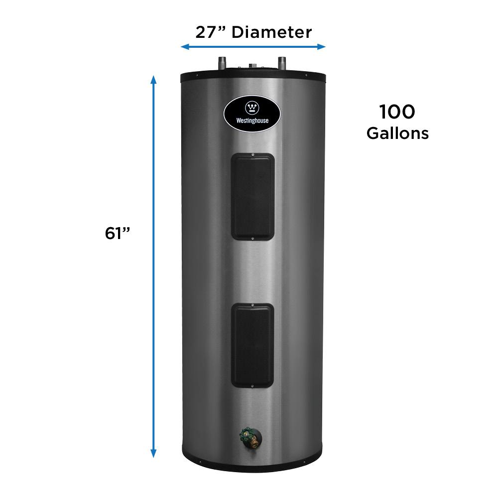 Westinghouse 100 Gal Lifetime 4500 Watt Electric Water Heater With Durable 316l Stainless Steel Tank Wec100c2x045 The Home Depot