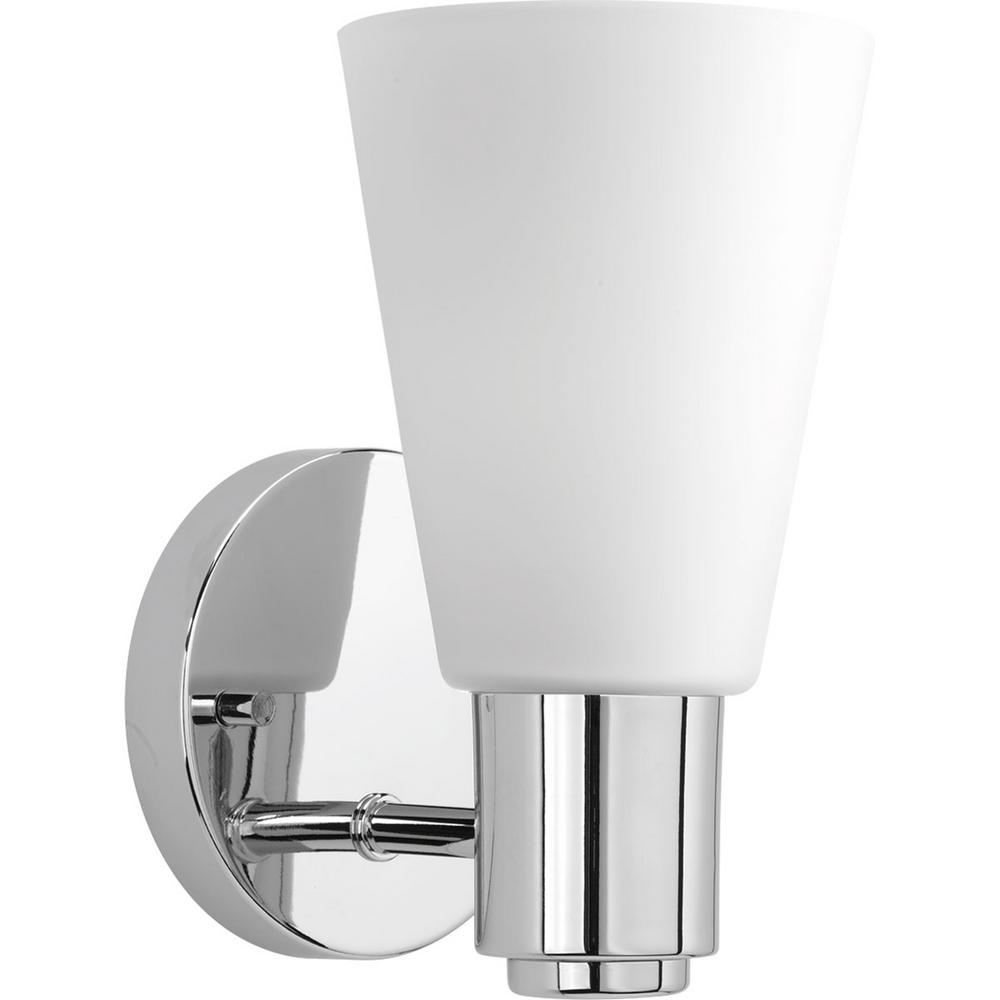 Progress Lighting Logic Collection 1 Light Polished Chrome Bath Sconce With Tapered Etched Glass